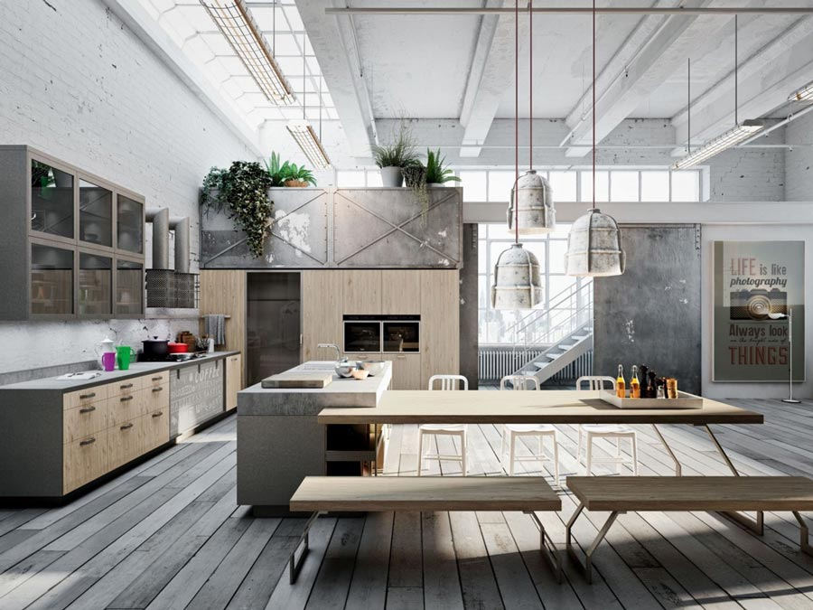 Gaya dapur industrial kayu rustic dan semen