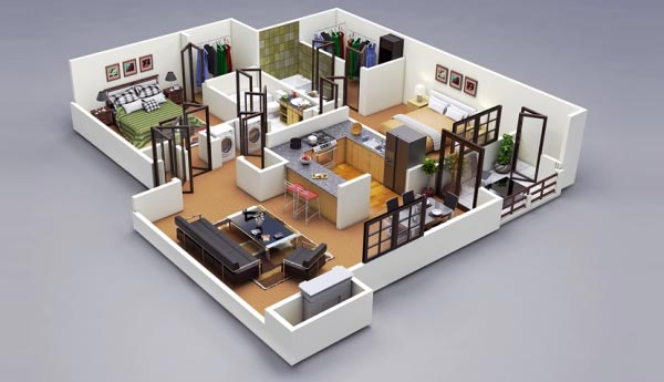 desain 3d rumah 2 bedroom