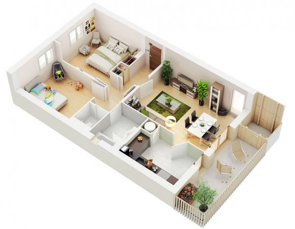 desain rumah 2 kamar tidur