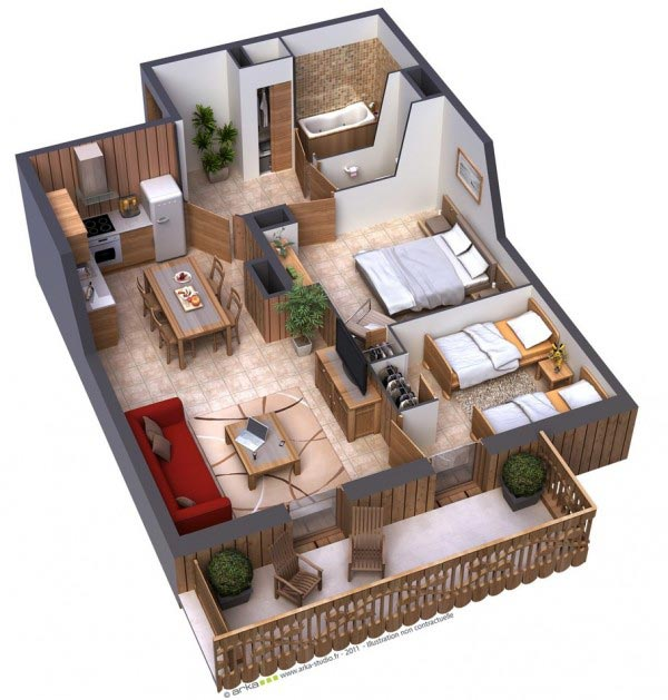rumah 2 kamar tidur besar